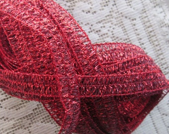 8 Yards Wholesale Lot Fancy Metallic Trim In Red Wired Old Store Stock  TD 9