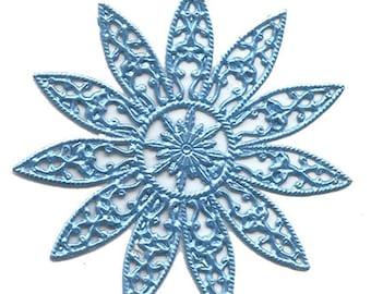 Dresden Trim 2 Stars Snowflakes Halos Light Blue Paper Foil Germany Die Cut Christmas DF 8404 LB