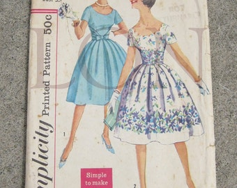 1950s Simplicity sewing pattern 3474 Junior size 13 bust 33 summer dress