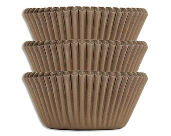 Solid Brown Baking Cups - 50 solid chocoalte brown paper cupcake liners