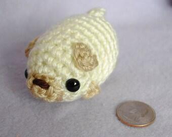 Crocheted Pug Amigurumi Plushie - Mini White Pug Puppy Dog Plush - MADE TO ORDER