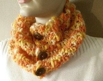 CROCHET COWL SCARF Orange