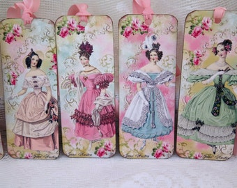 Shabby French Inspired set of 6 Jane Austen with Roses gift tags french vintage french chic