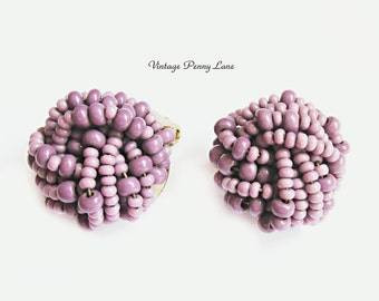 Vintage Bead Earrings, Lilac Purple Glass Knot