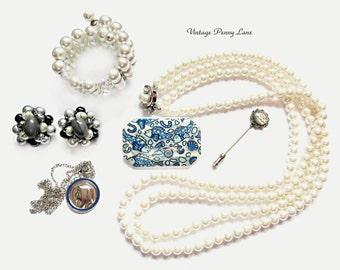 Destash Lot Vintage Costume Jewelry / Jewellery, Silver / Pearl / Blue