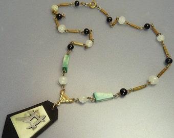 Art Deco Egyptian Revival Necklace Celluloid Pendant Necklace