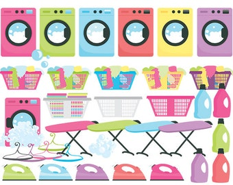 Laundry clipart - laundry clip art washing machine iron ironing detergent clothes bubbles commercial use chores household cleaning