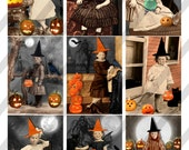 Digital Collage Sheet, Halloween Witches, ATC, ACEO sized, 2.5 X 3.5, Halloween Children (Sheet no. H39) Instant Download