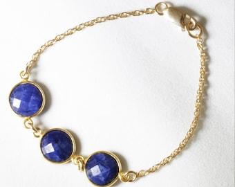 Blue Sapphire Bracelet Precious Sapphire Bracelet Real Sapphire Genuine Sapphire Bracelet 14k Gold September Birthstone BZ-B-106B-Sapph/g