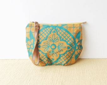 wristlet clutch • wrist strap • teal - orange - hand screenprinted geometric floral print - zipper pouch • talavera