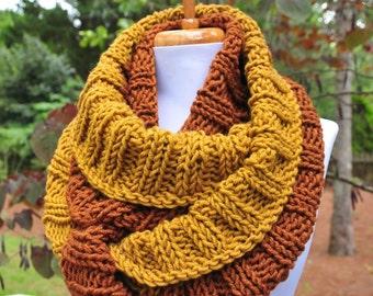 Chunky Knit Infinity Scarf, Mahogany & Honey Gold Scarf, Knitted Scarf, Women Scarf, Winter Scarf, Vegan Scarf, Circle Scarf, Fall Scarf