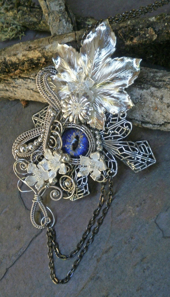 Gothic Steampunk Silver and Blue Purple Eye Pin Brooch Pendant