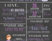 Purple Princess custom ( Any age ) Birthday Chalkboard sign printable file ( Choose size 8x10, 11x14 or a 16x20