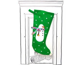 "Christmas Stocking Green Snowman with Polka Dot Scarf and Polka Dots, 23"" x 11"", Fully Lined, Handmade, Super Fun Twist on the Traditional"