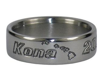 Kona Hawaii Island Chain Engraved Ring