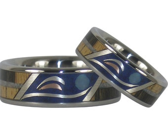 dolphin wedding rings with wood and stone harmony design - Dolphin Wedding Rings