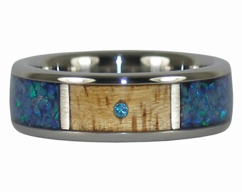 Blue Opal and Blue Diamond Titanium Ring