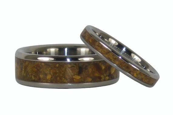 Gold Tigers Eye Titanium Ring Set