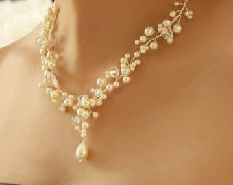 The Bridal Sweetheart Necklace Bridal Set with Pearl Necklace, Earrings, and Bracelet