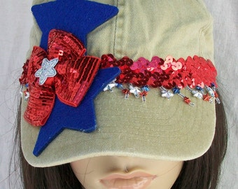 Patriotic 4th of July Baseball Cap, Red, White and Blue on a Khaki Cap  Stars Sequins and Dangle Star Beads