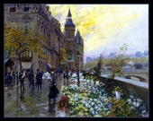 Flower Market along the Seine in Paris Refrigerator Magnet - FREE US SHIPPING