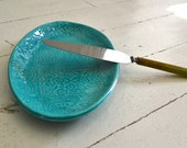 Turquoise Platter in PATCHWORK pattern - small oval platter - Wobbly Plates Series