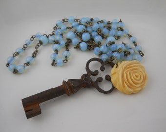 Vintage Rosary Periwinkle Blue Glass and Old Key with Carved Bone Rose Statement Necklace Boho Jewelry Prayer Beads Skeleton Key Flower OOAK