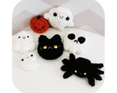 INSTANT DOWNLOAD - halloween pins or hair clip collection - ghost spider pumpkin black cat skull - PDF crochet pattern