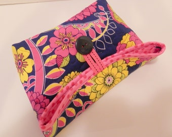 Foldover Bag/Navy, Pink, and Yellow Floral