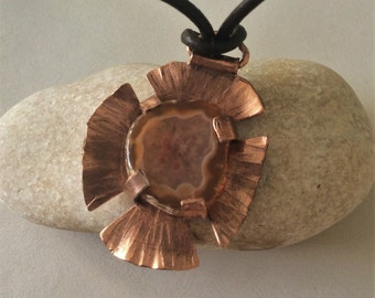 Copper and Agate Earth Amulet Necklace