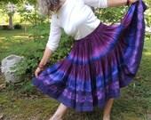 Silk 2 Tier Skirt, Handmade and Dyed with Shibori