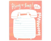 Ring-a-Ling Notepad // 1canoe2 // Hand illustrated