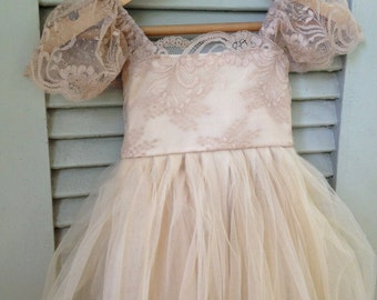 Beige RUE DEL SOL flower girl dress French lace and silk tulle dress for baby girl taupe princess dress beige tutu dress