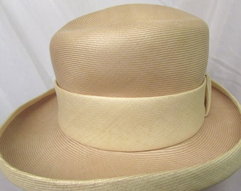 Vintage 1960's Straw Hat Atelier Lucas London Label Ladies Fedora Sun Hat