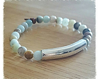 Amazonite bracelet, beaded bracelet for women, mothers day gift mom gift from daughter, boho jewelry, silver bar bracelet, birthday gift for
