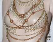 Morrocan Arabian nights pearls and chains body harness shoulder jewellery statement piece harness armor BODY jewelry