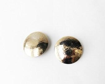 1980's Oversized Gold Toned Plate Stud Earrings