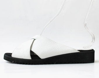 1990's White Criss Cross Slides Sandals