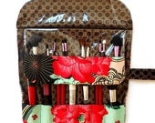 Travel Cosmetic Brush Roll Up With Clear Vinyl in Black Gold Pink Green Floral Print, Makeup Brush Holder, Brush Storage Organizer