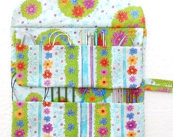 Circular Knitting Needle Case, Blue Floral Crochet Hook Roll Up, Knitting Pouch, Double Pointed Needle DPN Organizer, Needle Holder, Storage