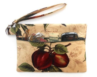 Apple Print Wristlet, Maroon Green Tan Clutch, Fruit Print Wallet, Small Front Zippered Purse, Cosmetic Bag, Phone, Camera or Gadget Holder