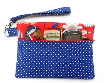 Polka Dot Wristlet, Blue White Red Floral Clutch, Camera or Phone Bag, Front Zippered Wallet, Womans Small Wrist Purse, Makeup Gadget Case