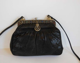 vintage 40s purse / Snake Skin / 40's Purse / Jeweled Bag