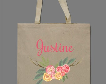 Personalized Watercolor Floral Tote Bag Beach Bag Bridesmaids Bag Brides Bag