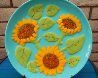 Decorative Plate, Fused Glass, Sunflowers