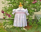Pastel flowers, baby girl, smocked dress, pink and blue, size 12 Mo, ready to ship, baby gift, Easter, heirloom, party dress, baby shower