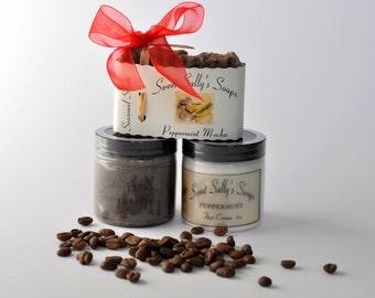 Coffee Seasonal Scent Set, Peppermint Mocha Soap, Coffee Butter Sugar Scrub, Peppermint Foot Cream