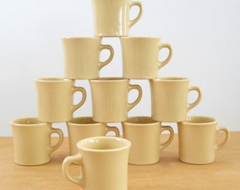 Vintage Ironstone Coffee Mug •Vintage Restaurant Ware Coffee Cup • Vintage Homer Laughlin Tan Coffee Mug