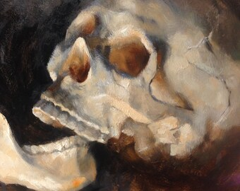"Skull Original Oil Painting ""Jaw Breaker"" by Kristina Laurendi Havens"