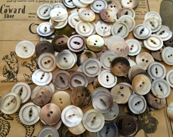 "Mother of pearl vintage MOP buttons Antique--100--11/16"" 2 hole cats eye USA"